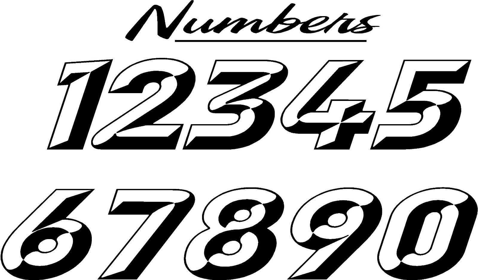 custom race car numbers decals graphics - full number kit - graphic chisel