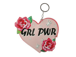 Girl Power Rose Faux Leather Zip Closure Coin Pouch Keychain - $8.95