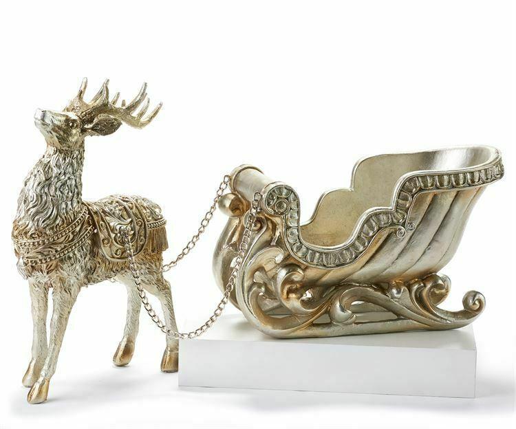"28"" Long  Elegant & Luxurious  Reindeer & Sleigh Figurine Gold Polystone"