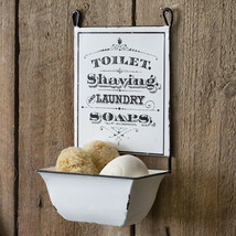 Distressed White Hanging Metal Sign Soap Dish Gift Set Farmhouse Bathroo... - $58.79