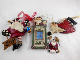 "Set 4 Santa Claus Figurines Folk Art Kurt Adler & others Wood look Resin 2""-4.5"" - $18.80"