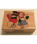 Snowman Couple Christmas Winter Wood Mounted Rubber Stamp Westwater NEW ... - $9.85