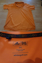Men's Adidas Golf Sz 2XL Orange Polo S/S - $18.69