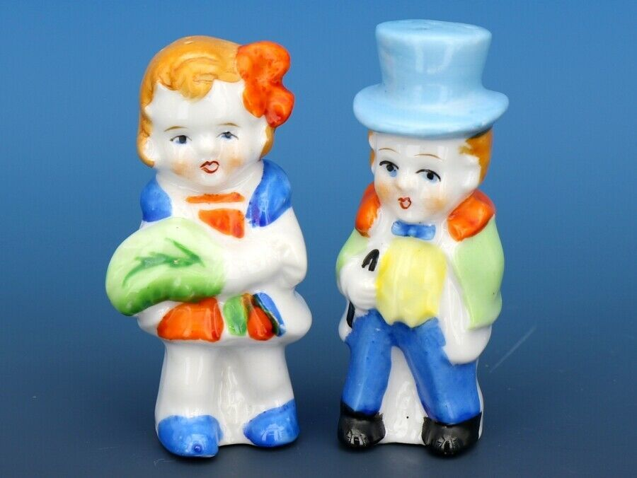 Vintage Novelty Salt & Pepper Shaker Set Japanese Porcelain Dapper Boy & Girl