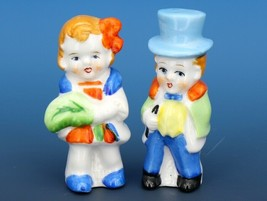 Vintage Novelty Salt & Pepper Shaker Set Japanese Porcelain Dapper Boy & Girl image 1