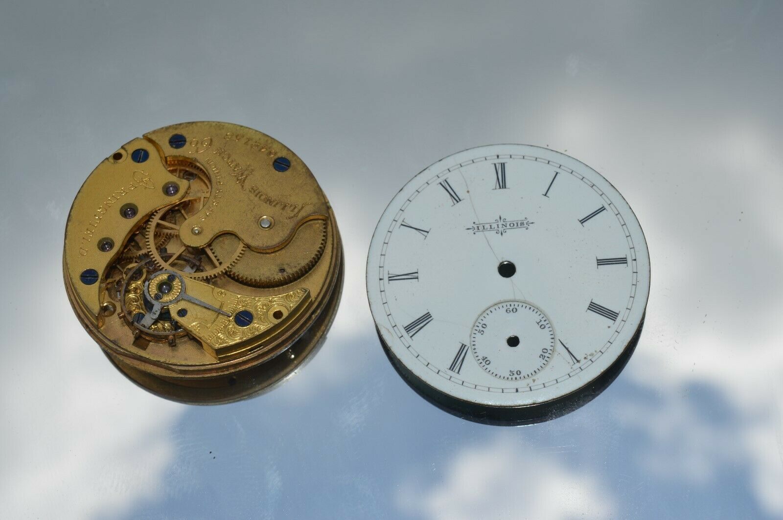 Primary image for Vintage Antique Illinois Pocket watch Brass movement illinois Watch Co. 642158