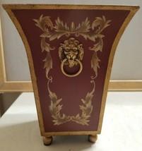"Metal Lion Head Handles Planter Decorative Home Decor Red Gold 10"" x 7.5... - $26.54 CAD"