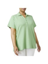 Karen Scott New Women's Casual Short Sleeve Polo Top Meadow Green Textur... - $14.84