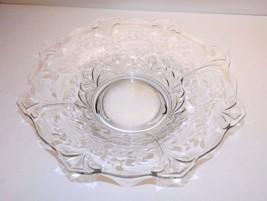 "Large 13"" Vintage Pattern Glass Centerpiece Bowl  Etched Floral Diamond ... - $39.99"