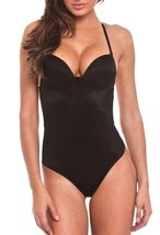 NEW JUNIOR'S FULLNESS LOW CUT THONG BODYSUIT BACKLESS BODY SHAPER BLACK #9001