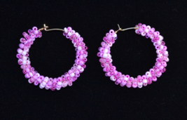Handmade assorted pink seed bead wire wrapped Hoop Earring - $12.00