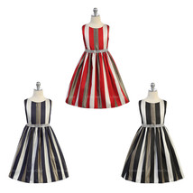 Stripe Gold Metallic Accent Rhinestone Trim Waist Girl Dress - £30.76 GBP