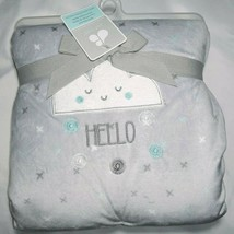 NWT Just Born Gray HELLO Cloud White Sky Blue Sherpa Plush Baby Blanket ... - $27.87