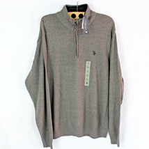NEW US Polo Assn 1/4 Zip Polo Sweater Stone Gray Fleece Lined Collar Men... - $15.83