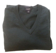J. Crew Men Size S Italian Merino Wool Sweater Dark Green V-Neck  - $38.75