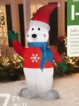 New Christmas Gemmy 7' Waving Polar Bear Lighted Airblown/Inflatable Yar... - $69.39