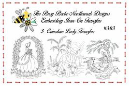 #303 - 3 Crinoline Ladies Lady Garden Gal Belle Embroidery Iron-On Trans... - $9.89