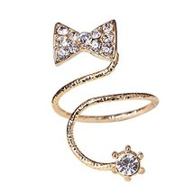 Rhinestone Bowknot Fingernail Ring Bend Nails Cap Cover Finger Joint Art Charm,