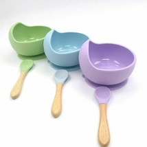 Silicone Baby Suction Bowls With Spoon Feeding Toddler Fda Anti-fall V3F... - $16.11