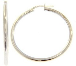 18K WHITE GOLD ROUND CIRCLE EARRINGS DIAMETER 30 MM, WIDTH 2 MM, MADE IN ITALY image 1