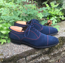 Handmade Men's Navy Blue Lace Up Dress/Formal Suede Oxford Shoes image 1