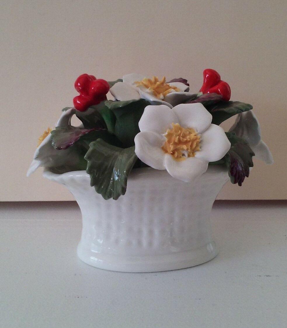 Vintage Aynsley Bone China December Christmas Rose Basket hand painted bouquet