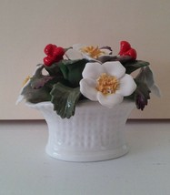 Vintage Aynsley Bone China December Christmas Rose Basket hand painted b... - $18.00