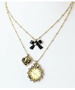 Betsey Johnson TIME FLIES Leopard Clock Bow Charm Necklace Gold Tone NWT - $26.99
