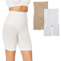Rhonda Shear 2-pack Medium Support Longline Short (659820) , White/Nude,... - $19.79