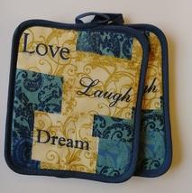 INSPIRATIONS KITCHEN SET 7-pc Towels Potholders Mitt Love Laugh Dream Blue Beige image 6