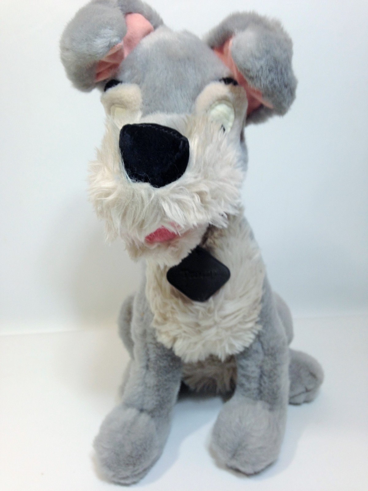 "Vintage Disney Tramp Plush Dog Grey Stuffed Animal Metal DogTag 14"" image 4"