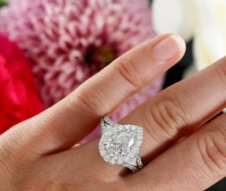 Certified 3.50Ct Pear Halo Sparkling Stone Engagement Ring in 14K White ... - $336.20
