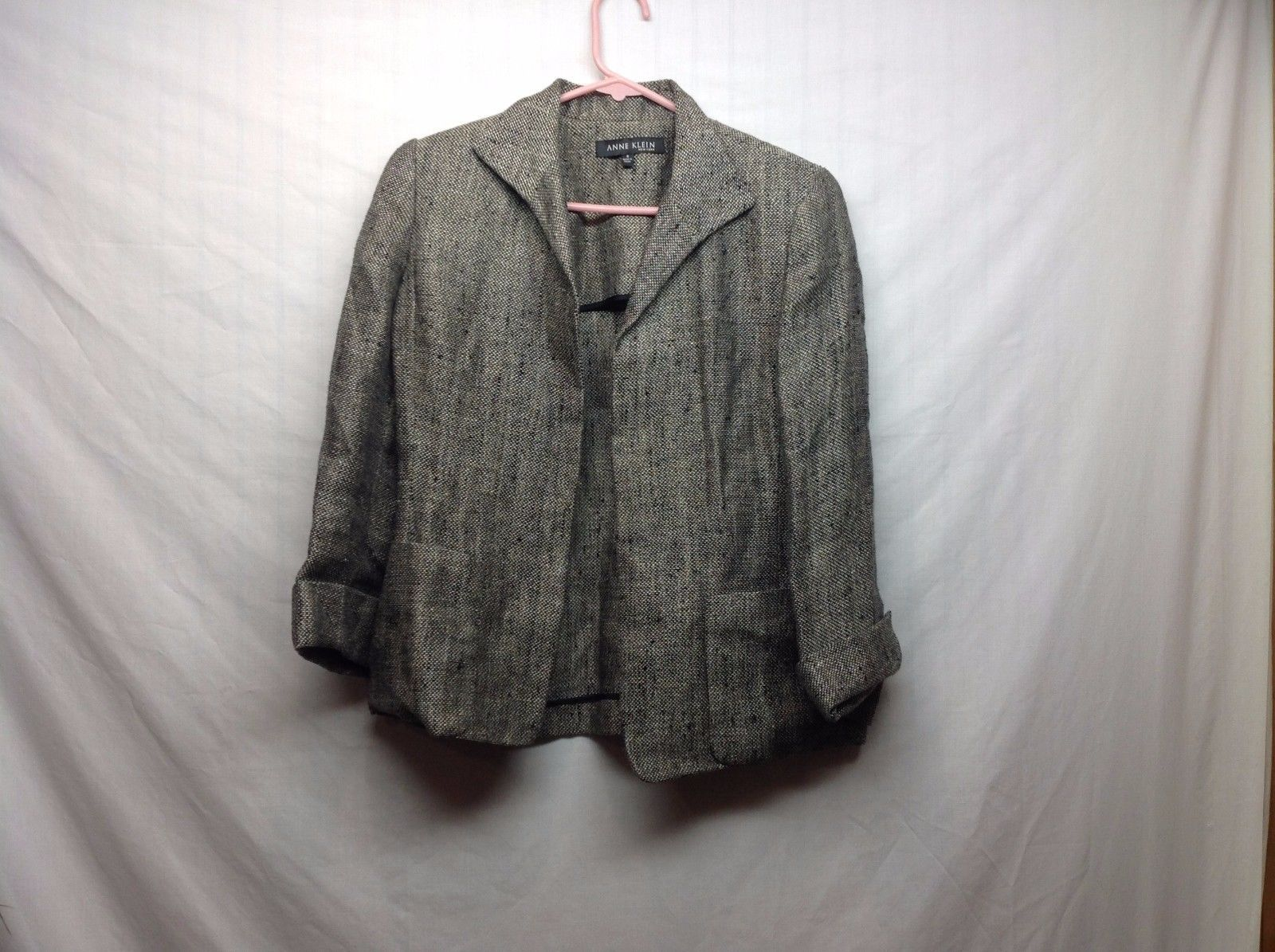 Womens Black Brown Linen Blazer w Woven Pattern by Anne Klein Sz 6