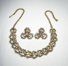 Estate Vintage AB Crystal Rhinestone Choker Necklace & Earrings Set C2534 - $43.44