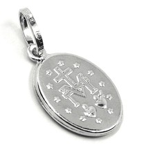 18K WHITE GOLD MIRACULOUS MEDAL VIRGIN MARY MADONNA, 1.5 CM, 0.6 INCHES image 2