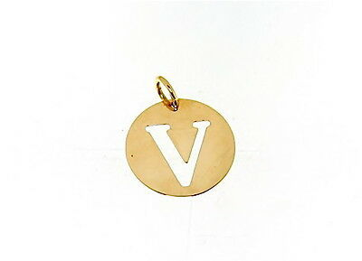 18K YELLOW GOLD LUSTER ROUND MEDAL WITH LETTER V MADE IN ITALY DIAMETER 0.5 IN