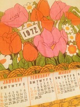 Vintage 1972 Linen Kitchen Tea Towel/Calendar
