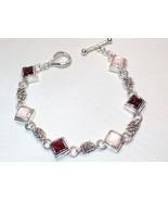 Michael Dawkins Pink MOP & Wine Garnet Link Sterling Silver Toggle Brace... - $65.44