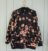 Chaps Womens Plus 1X Satin Bomber Jacket Coat Black Pink Floral Pockets ... - $30.95