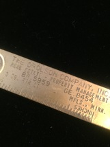 Vintage 60s brass letter opener/ruler marked The Drolson Company image 4