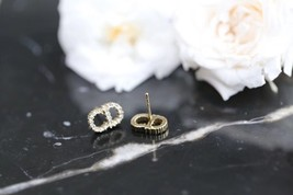 Authentic Christian Dior CD Crystal Logo Stud 2019 Gold Earrings STUNNING image 4