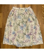 VTG 90s Womens 12P Rayon Linen Skirt Knee Cottage Core Floral Button Up ... - $27.71