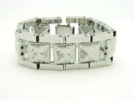 Pcraft Textured Square Basket Weave Design Metal Clasp Bracelet Silver Tone - $19.79