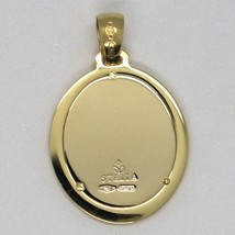 18K YELLOW & WHITE GOLD PENDANT OVAL MEDAL JESUS FACE ENGRAVABLE MADE IN ITALY image 2