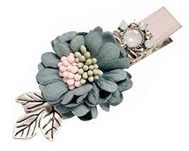 2 Pcs Beautiful Duckbill Hairpin Hair Ornaments Flower Hairpinside Clip ,Green