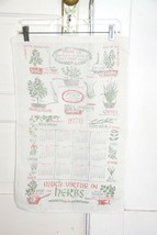Vtg 1978 Calendar Kitchen Tea Towel Linen  MUCH VIRTUE IN HERBS Faded Co... - $5.68