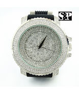 Men Techno Pave Hip Hop Iced Out Bling Diamond Rapper's Gold Silicone W... - $47.75