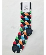 Happy Socks Men 10-13 Shoe 8-12 Black White Multi Optic Geometric Dress ... - £5.28 GBP