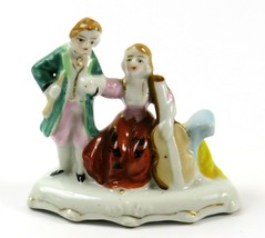 Vintage Colonial Musical Couple Porcelain Figurine, Hand Painted - $13.85