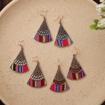 Boho Fan-shaped Hollow Fabric Drop Earrings For Women Jewelry   - $11.78